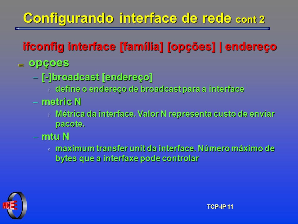 Configurando interface de rede cont 2