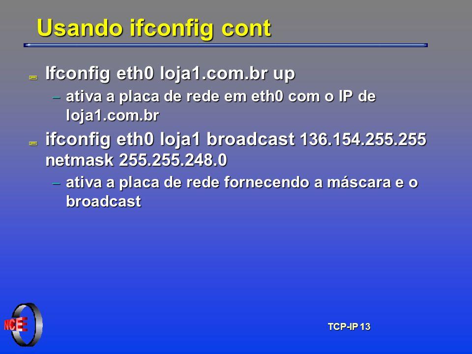 Usando ifconfig cont Ifconfig eth0 loja1.com.br up