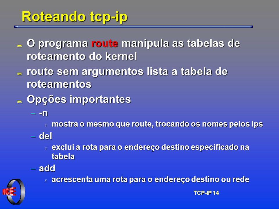 Roteando tcp-ip O programa route manipula as tabelas de roteamento do kernel. route sem argumentos lista a tabela de roteamentos.