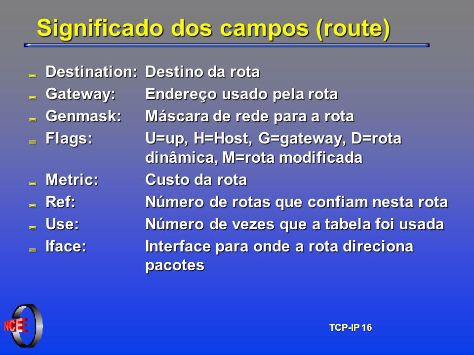 Significado dos campos (route)