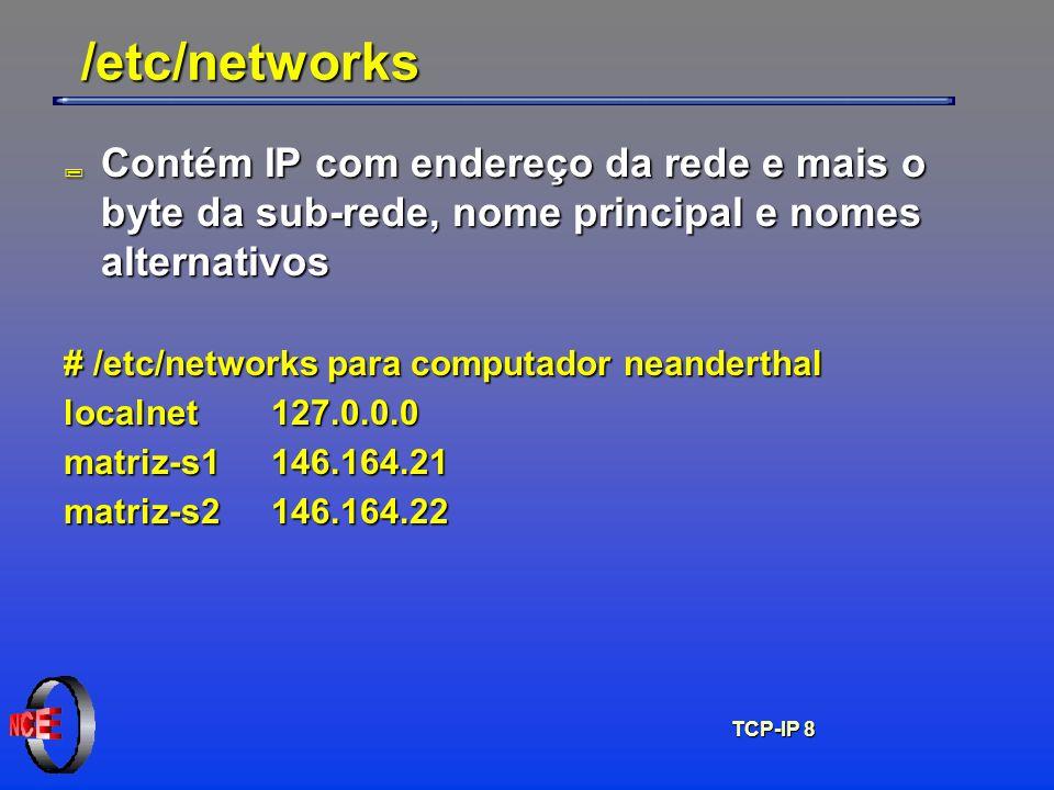 /etc/networks Contém IP com endereço da rede e mais o byte da sub-rede, nome principal e nomes alternativos.