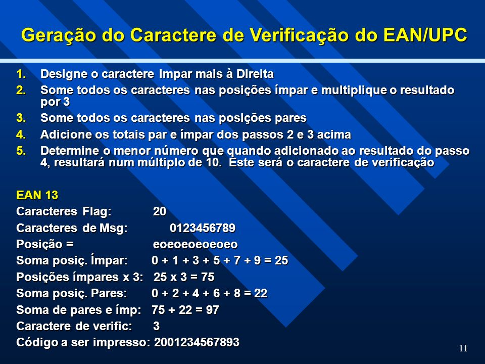 Geração do Caractere de Verificação do EAN/UPC