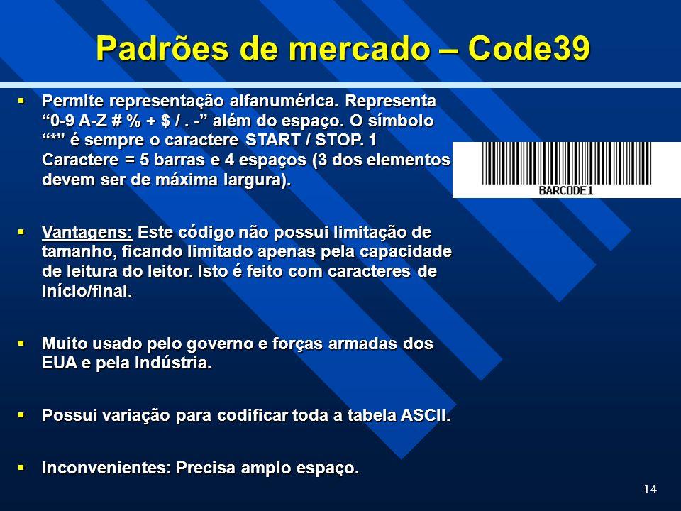 Padrões de mercado – Code39