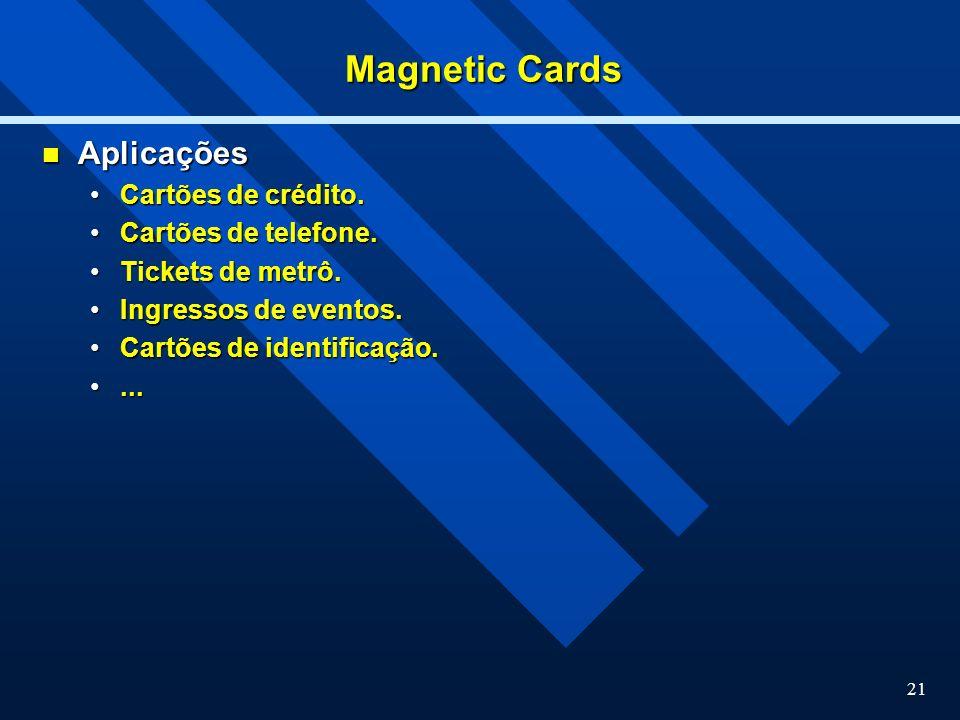 Magnetic Cards Aplicações Cartões de crédito. Cartões de telefone.