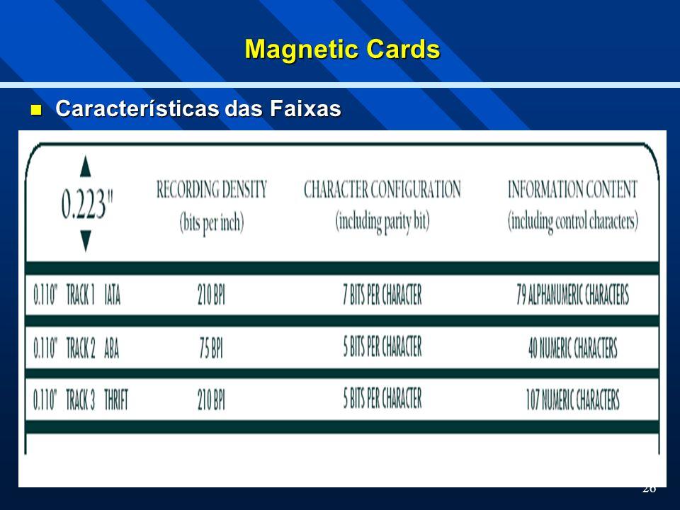 Magnetic Cards Características das Faixas