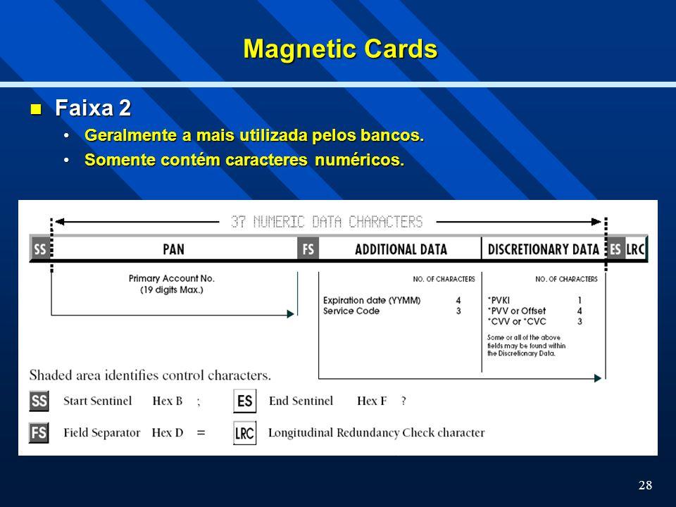 Magnetic Cards Faixa 2 Geralmente a mais utilizada pelos bancos.