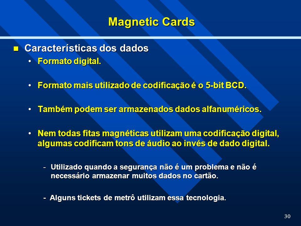 Magnetic Cards Características dos dados Formato digital.