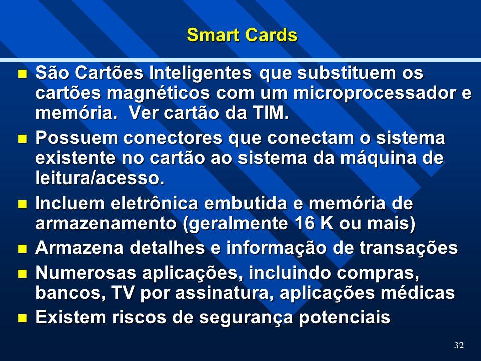 Smart Cards São Cartões Inteligentes que substituem os cartões magnéticos com um microprocessador e memória. Ver cartão da TIM.