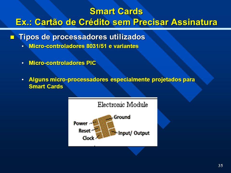 Smart Cards Ex.: Cartão de Crédito sem Precisar Assinatura
