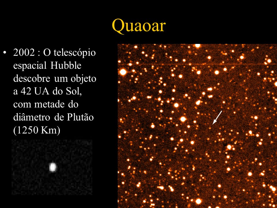 Quaoar 2002 : O telescópio espacial Hubble descobre um objeto a 42 UA do Sol, com metade do diâmetro de Plutão (1250 Km)