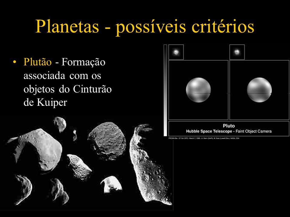 Planetas - possíveis critérios