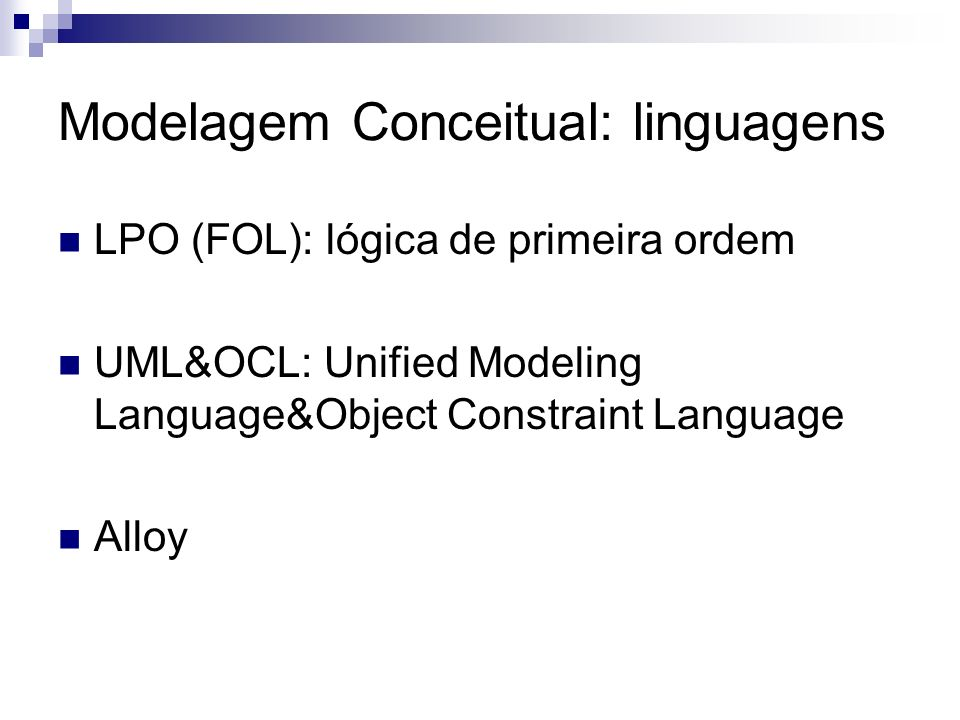 Modelagem Conceitual: linguagens
