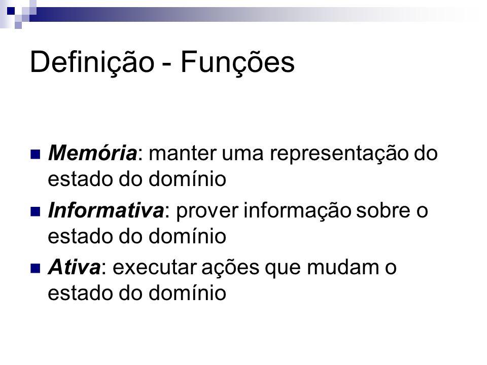 Definição - Funções Memória: manter uma representação do estado do domínio. Informativa: prover informação sobre o estado do domínio.
