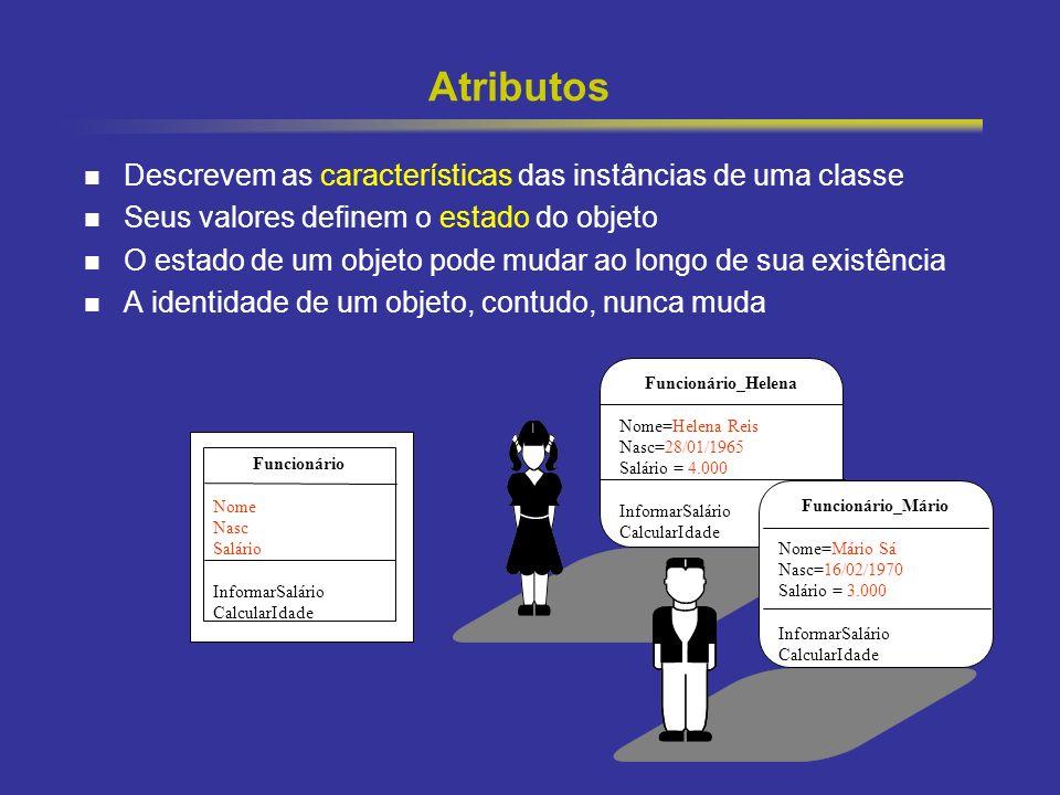 Atributos Descrevem as características das instâncias de uma classe
