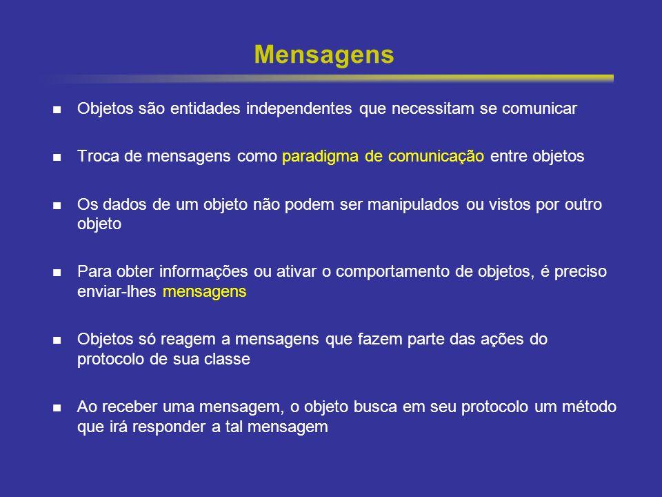 Mensagens Objetos são entidades independentes que necessitam se comunicar. Troca de mensagens como paradigma de comunicação entre objetos.