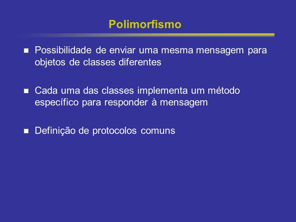 Polimorfismo Possibilidade de enviar uma mesma mensagem para objetos de classes diferentes.