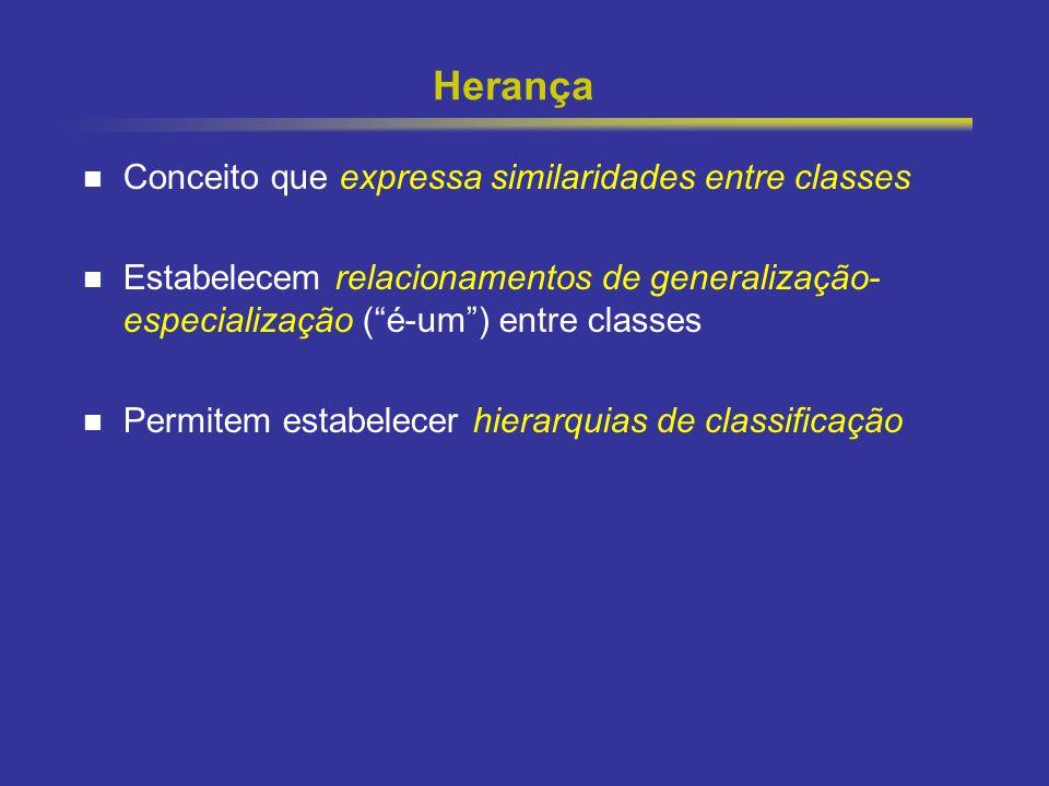 Herança Conceito que expressa similaridades entre classes