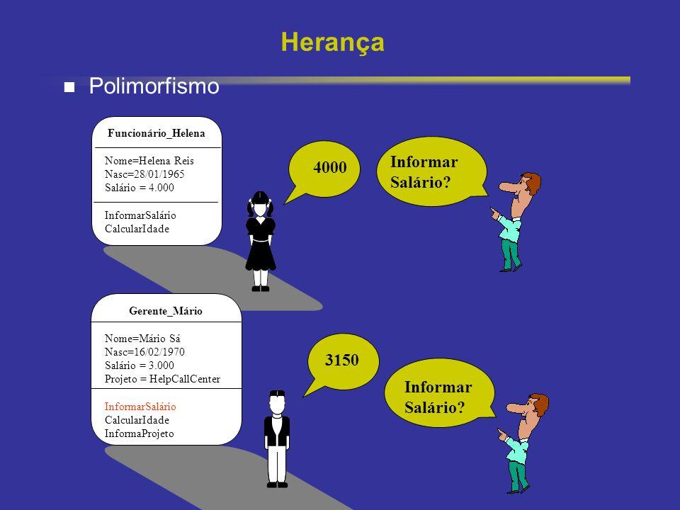 Herança Polimorfismo Informar Salário 4000 3150 Informar Salário