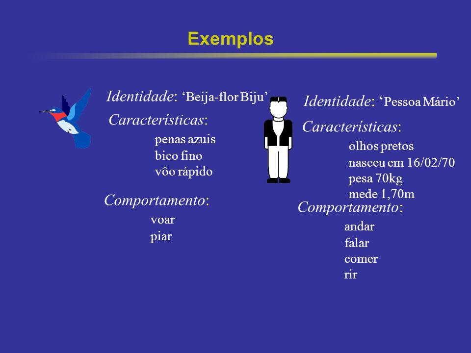Exemplos Identidade: 'Beija-flor Biju' Identidade: 'Pessoa Mário'
