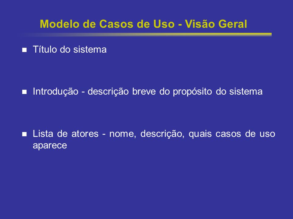 Modelo de Casos de Uso - Visão Geral