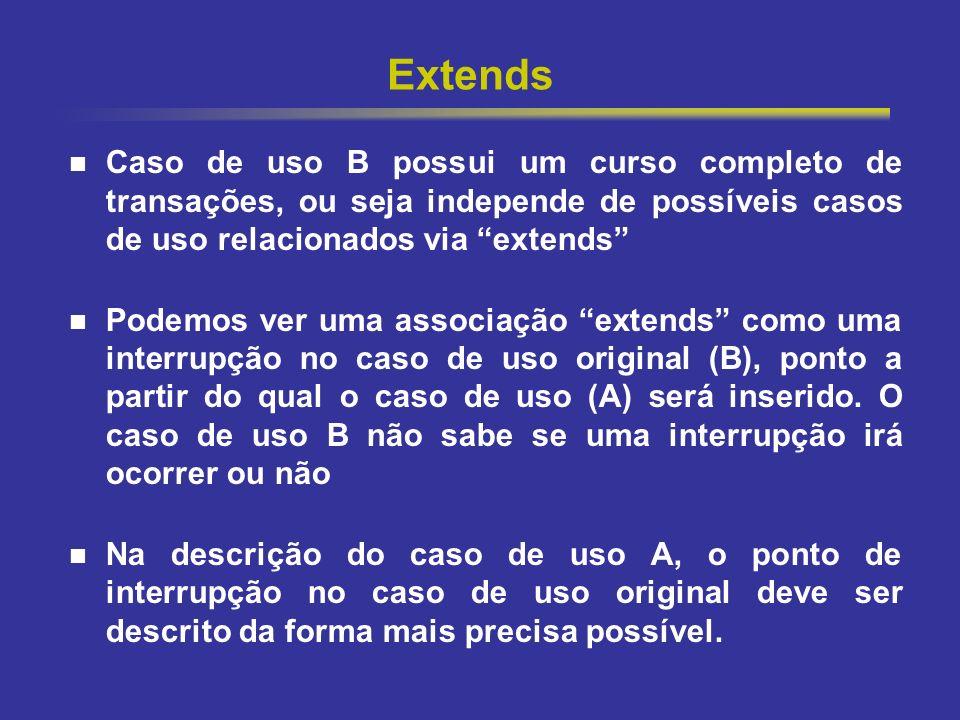 Extends Caso de uso B possui um curso completo de transações, ou seja independe de possíveis casos de uso relacionados via extends