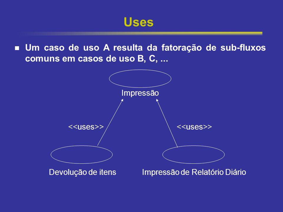 Uses Um caso de uso A resulta da fatoração de sub-fluxos comuns em casos de uso B, C, ... Impressão.