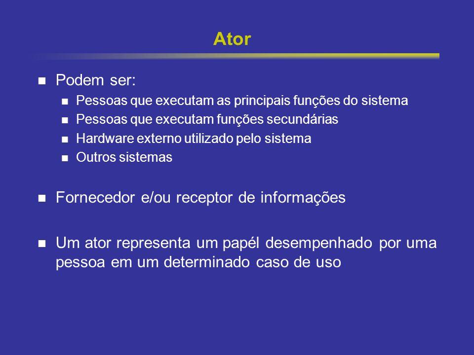 Ator Podem ser: Fornecedor e/ou receptor de informações