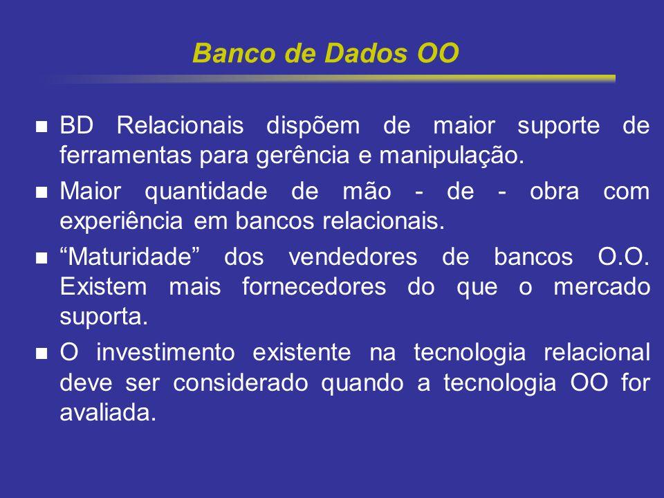 Banco de Dados OO BD Relacionais dispõem de maior suporte de ferramentas para gerência e manipulação.