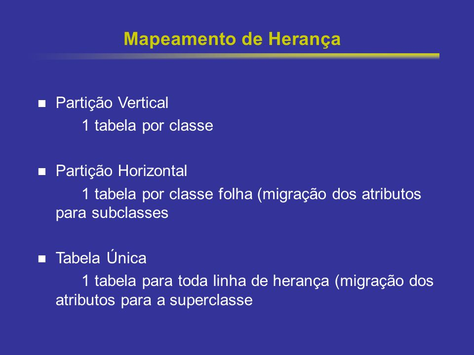 Mapeamento de Herança Partição Vertical 1 tabela por classe