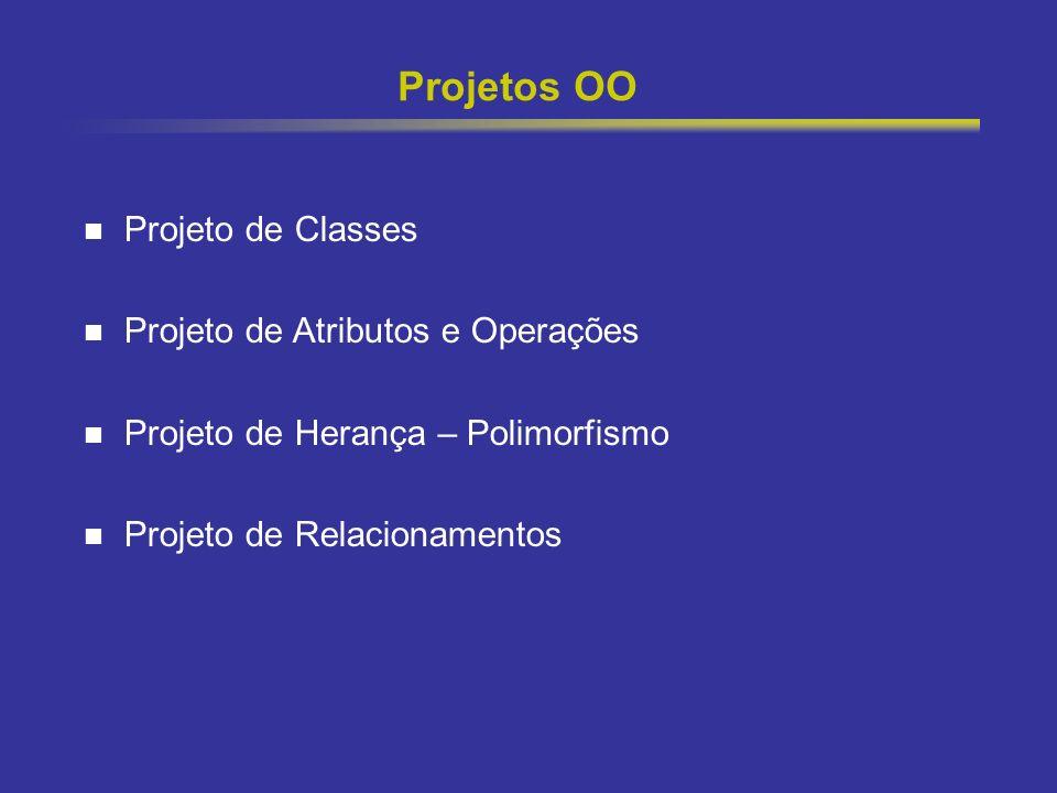 Projetos OO Projeto de Classes Projeto de Atributos e Operações