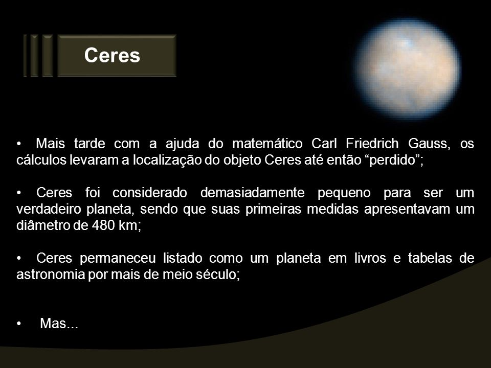 Ceres Mais tarde com a ajuda do matemático Carl Friedrich Gauss, os cálculos levaram a localização do objeto Ceres até então perdido ;
