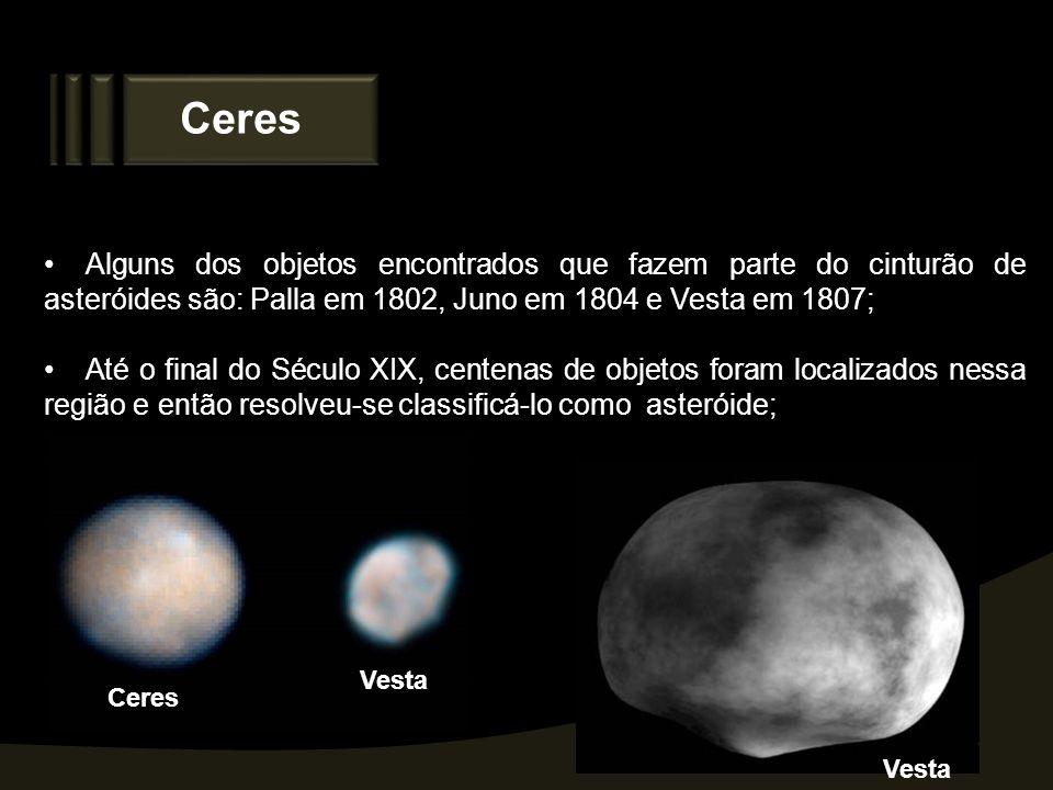 Ceres Alguns dos objetos encontrados que fazem parte do cinturão de asteróides são: Palla em 1802, Juno em 1804 e Vesta em 1807;