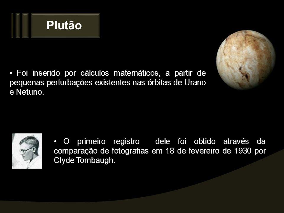 Plutão Foi inserido por cálculos matemáticos, a partir de pequenas perturbações existentes nas órbitas de Urano e Netuno.