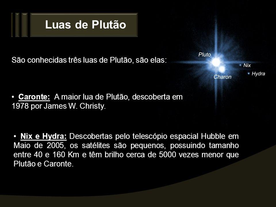 Luas de Plutão São conhecidas três luas de Plutão, são elas: