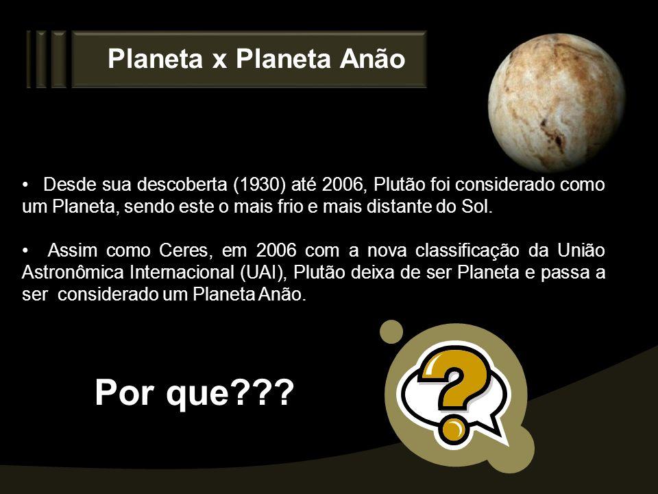 Por que Planeta x Planeta Anão
