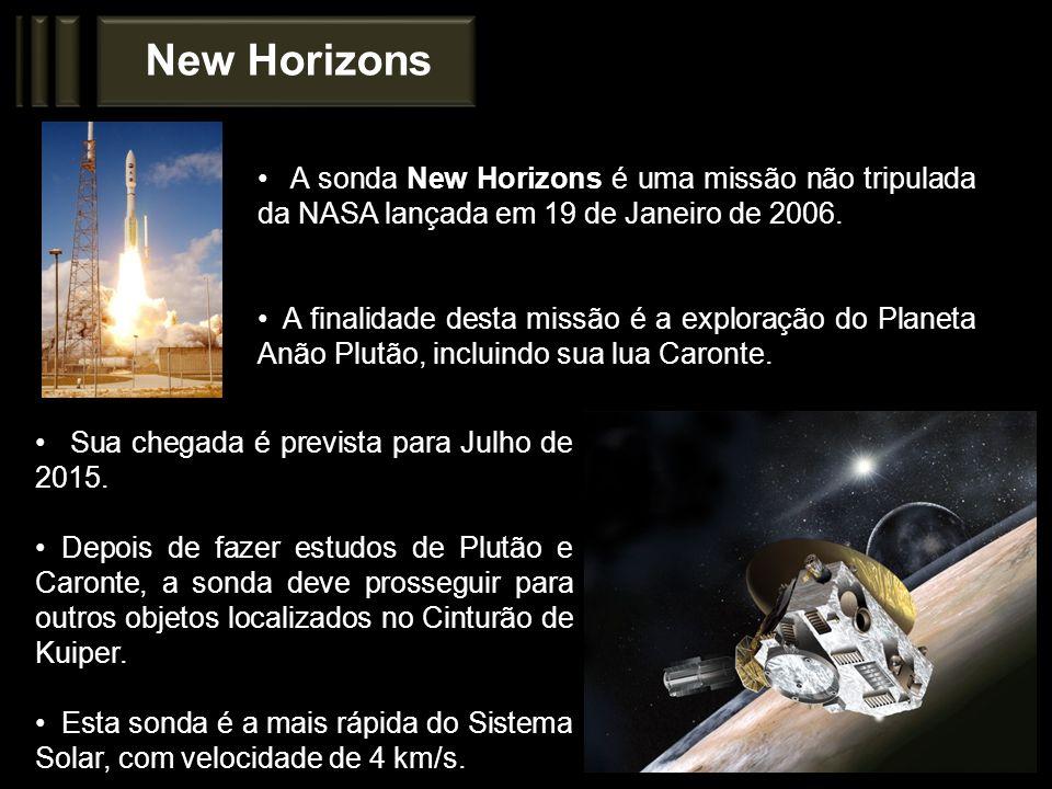 New Horizons A sonda New Horizons é uma missão não tripulada da NASA lançada em 19 de Janeiro de 2006.