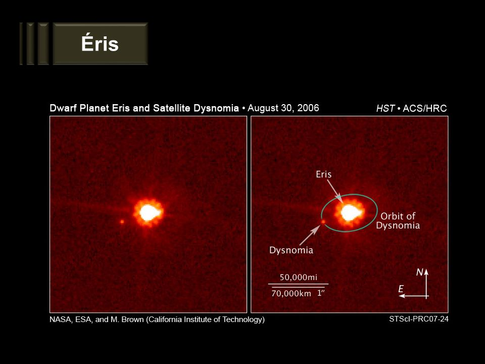 Éris A imagem mostra a órbita do satélite Disnômia, juntamente com sua posição.