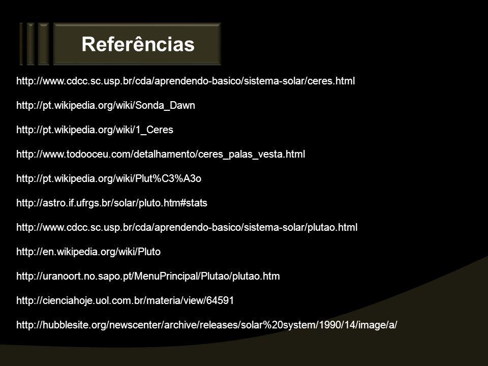 Referências http://www.cdcc.sc.usp.br/cda/aprendendo-basico/sistema-solar/ceres.html. http://pt.wikipedia.org/wiki/Sonda_Dawn.