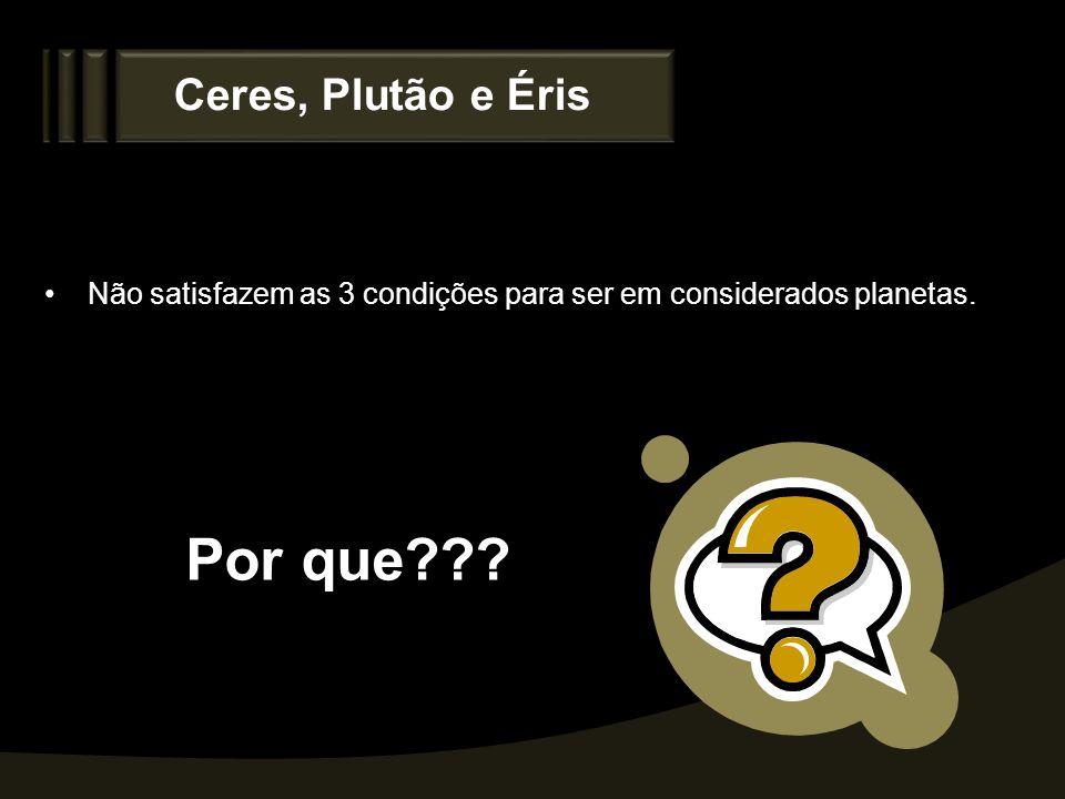 Por que Ceres, Plutão e Éris