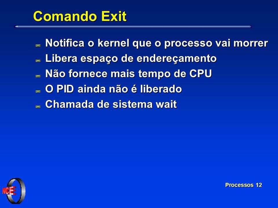 Comando Exit Notifica o kernel que o processo vai morrer
