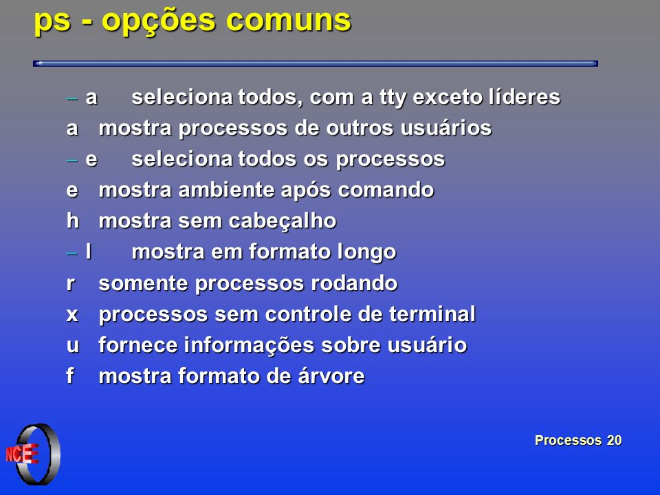 ps - opções comuns a seleciona todos, com a tty exceto líderes