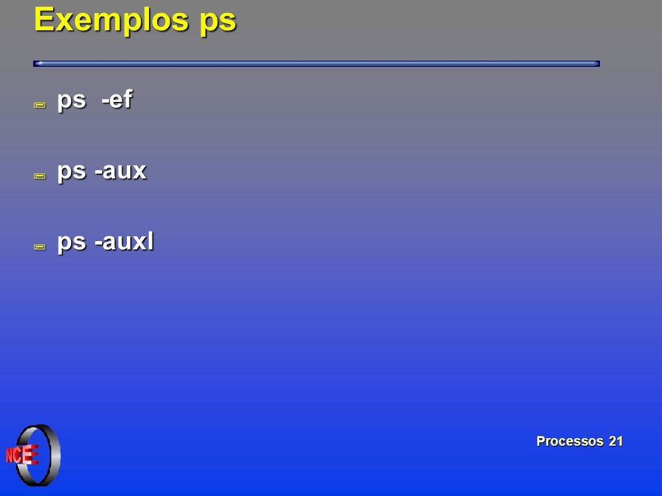Exemplos ps ps -ef ps -aux ps -auxl