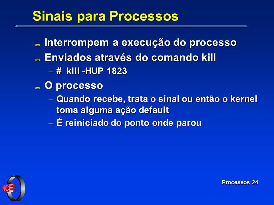 Sinais para Processos Interrompem a execução do processo