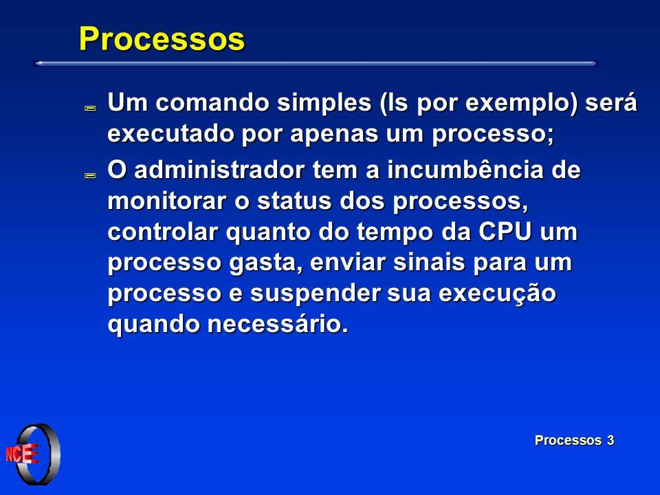 ProcessosUm comando simples (ls por exemplo) será executado por apenas um processo;
