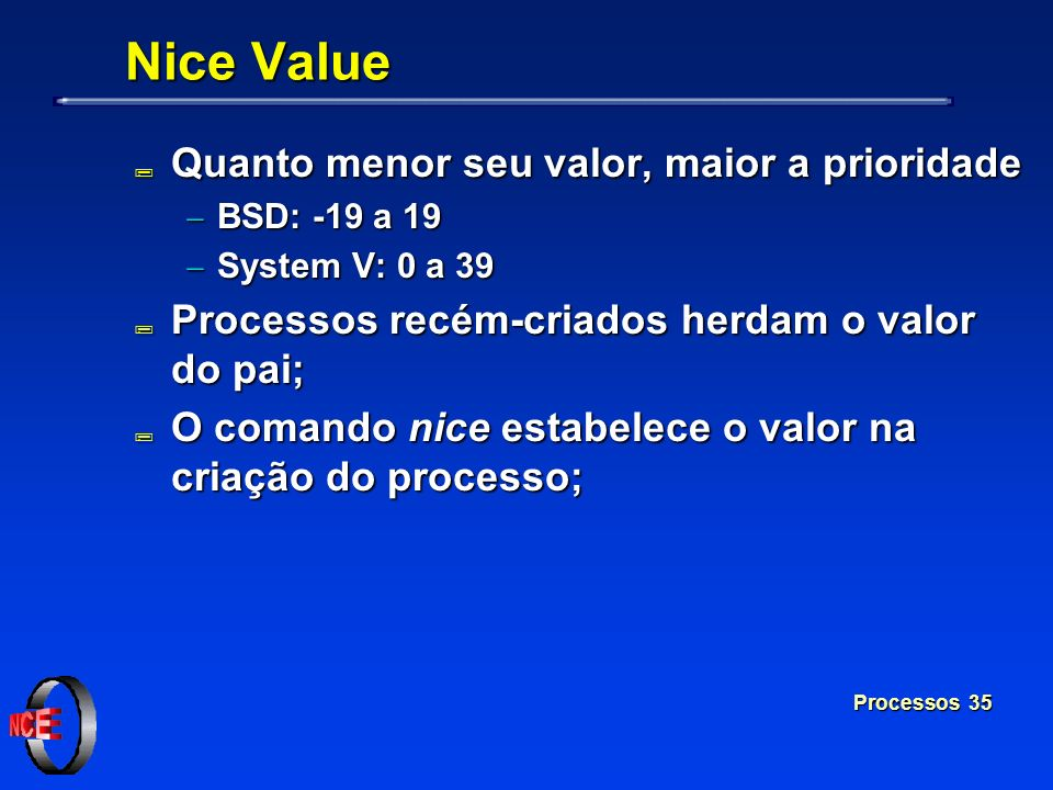 Nice Value Quanto menor seu valor, maior a prioridade