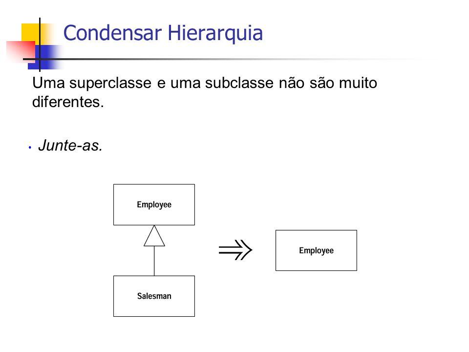 Condensar Hierarquia Uma superclasse e uma subclasse não são muito diferentes. Junte-as.