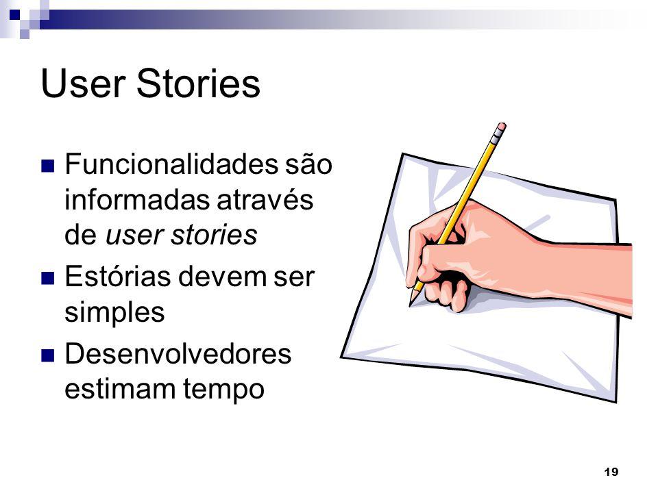 User Stories Funcionalidades são informadas através de user stories