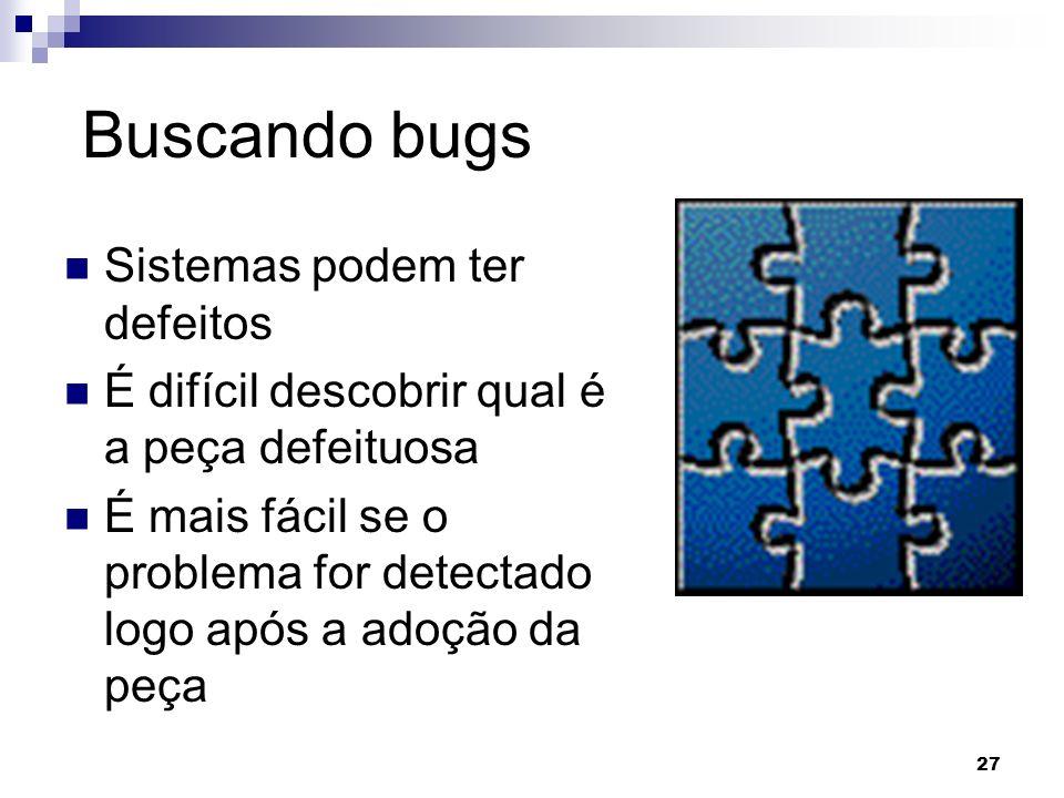 Buscando bugs Sistemas podem ter defeitos