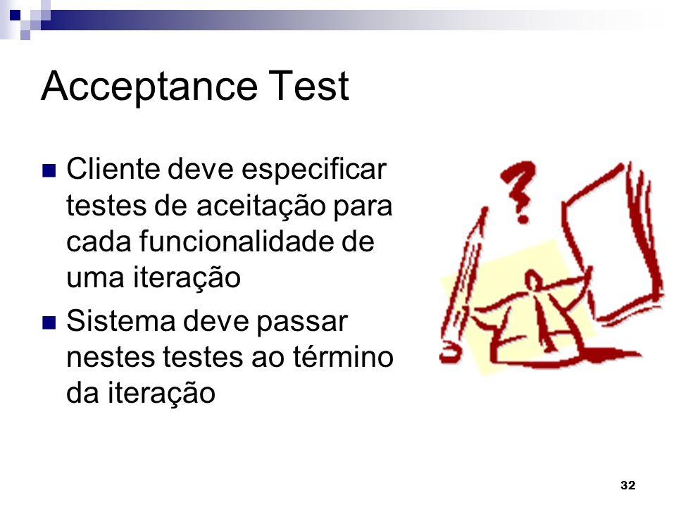 Acceptance Test Cliente deve especificar testes de aceitação para cada funcionalidade de uma iteração.