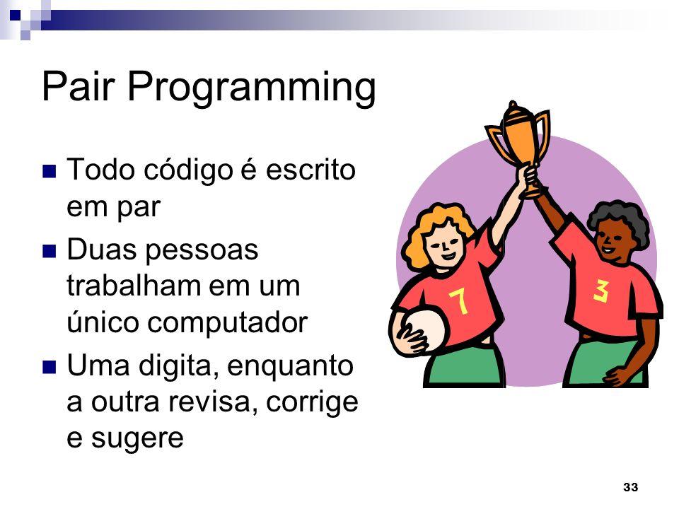 Pair Programming Todo código é escrito em par